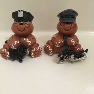 Little Police Figurines with dog and motorcycle